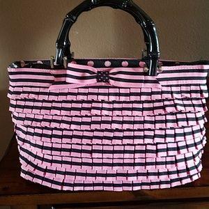 Braciano Pink and Black Stripe Purse